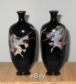 Superb Meiji Japanese Hexagonal Cloisonne Pair Vases with Swirling Dragons- Signed