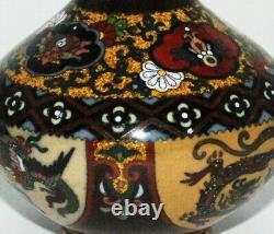 Superb Miniature Japanese Cloisonne Enamel Vase Complex Kyoto Shippo Design