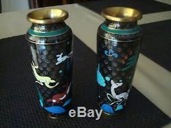 Superb Quality Japanese Pair Cloisonne Vases Deer Flowers