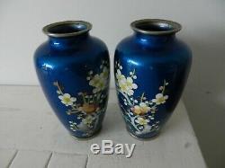 Superb pair japanese meiji cloisonne vases