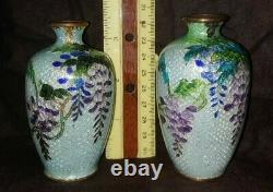 THREE (3) Antique Japanese Ginbari Cloisonné Vase Wisteria Motif