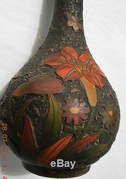 Tree bark totai cloisonne small bulbous vase Japanese Meiji period 16 x 8 cms