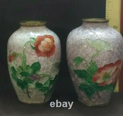 Two signed JAPANESE Cloisonne Ginbari Vases 2.25