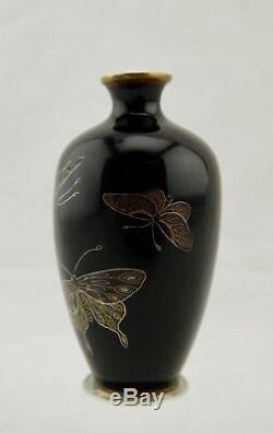 Unsigned Hayashi Meiji Japanese cloisonne enamel silver-wire Butterfly vase