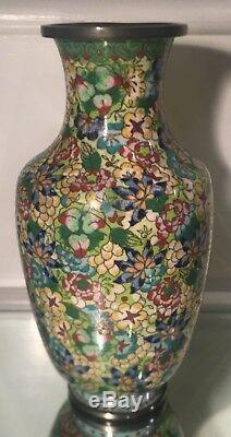 Unusual Antique Chinese Cloisonné Flower Vase