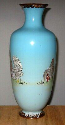 Unusual Antique Large Meiji Period Japanese Cloisonne Enamel Vase-Rooster/Hens