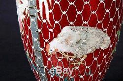 Unusual Japanese Meiji Deep Red Cloisonne Vase w Chickens, Flowers & Palm Trees