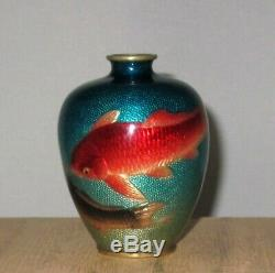 VERY RARE OGASAWARA SHUZO Signed Meiji Japanese Ginbari Cloisonne Vase