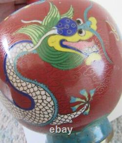 VTG Asian Chinoiserie Red Double Dragon Cloisonné Vase 9.5