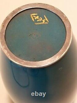 VTG Japanese Silver Wire Cloisonne Akagi Japanese Marked on Bottom Of Vase