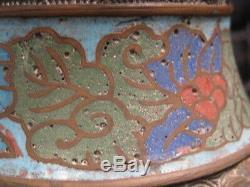 Vase Japanese Champleve Cloisonne on Brass or Bronze 9.5T