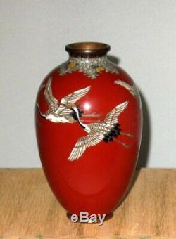 Very Fine Japanese Cloisonne Enamel Vase with Cranes-Unique Coloring-Gonda Attrib