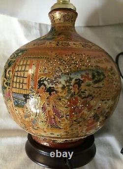 Vintage 16 CLOISONNE VASE LAMP- PORCELAIN CHINESE/JAPANESE ASIAN ORIENTAL EUC