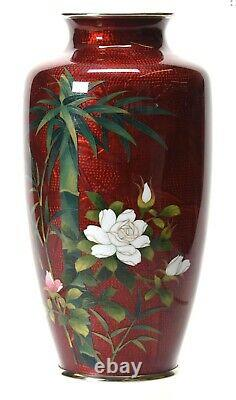 Vintage 8.5 Japanese Cloisonne Vase Marked Japan Sato Silver Rims Circa 1940's