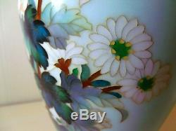 Vintage ANDO Signed Cloisonne Enamel Vase Chrysanthemum Large 9-3/4 Pristine