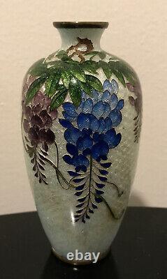Vintage Antique Japanese Cloisonne Cloissone Wisteria Vase Kumeno Teitaro Signed