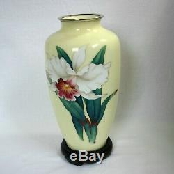 Vintage Cloisonne Pale yellow Vase wired Orchid design with a floor plate and Bo