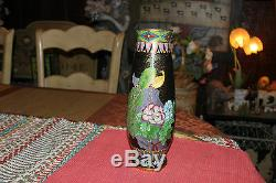 Vintage Cloisonne Vase Tall Chinese Japanese Trumpet Vase Birds & Flowers