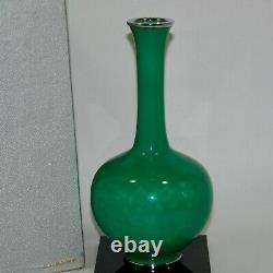 Vintage Japanese Ando Cloisonne Crane Neck Jade Color Enamel Vase with floorstan