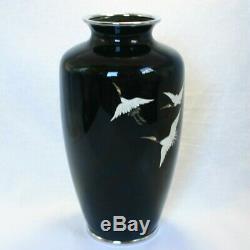 Vintage Japanese Ando Cloisonne wired cranes design Vase