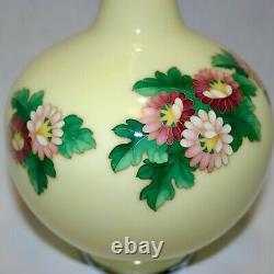 Vintage Japanese Ando Cloisonne wired yellow flower design Vase of crane neck