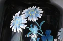 Vintage Japanese Black Cloisonne Enamel Shippo Vase with Quail Bird Flowers Mk