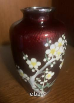 Vintage Japanese Cloisonne Pigeon Blood Red Vase Enameled With Cherry Blossoms