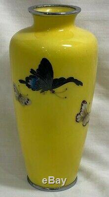 Vintage Japanese Cloisonne Vase by Ando Jubei Butterflies Yellow Signed Marked