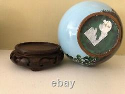 Vintage Japanese Cloisonne Vase withStand 6.25 high by 6 wide