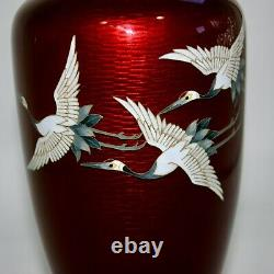 Vintage Japanese Cloisonne wired 3cranes design Vase with Paulownia box