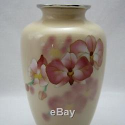 Vintage Japanese Cloisonne wired phalaenopsis design Vase