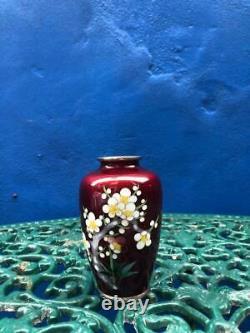 Vintage Japanese Ginbari Red Cloisonné Vase
