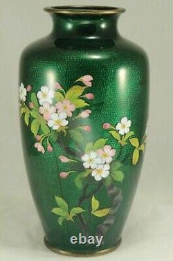 Vintage Japanese Green Cloisonne 7¼ Vase w Flowers Bird & Bamboo