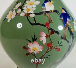 Vintage Japanese Green Cloisonne Enamel Vase Blue Birds Flower Japan Bottle Form