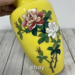 Vintage Japanese Japan SATO Cloisonne 7.5 Vase Vivid Yellow Roses