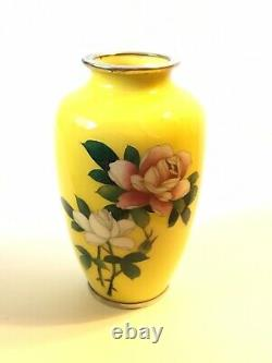 Vintage Japanese Japan Sato Cloisonne Miniature 4.75 Vase Yellow Roses