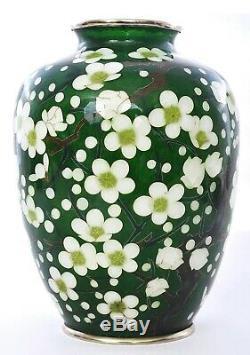 Vintage Japanese Plique a Jour Cloisonne Enamel Shippo Vase Plum Blossom Flower
