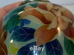 Vintage Japanese Plique a Jour Cloisonne Glass Silver Mounted Vase with Flowers