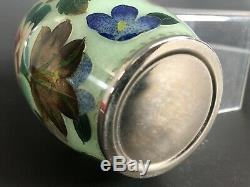 Vintage Japanese Plique a Jour Vase Cloisonné Flowers