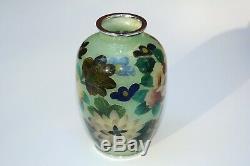 Vintage Japanese Plique a Jour Vase Cloisonné Flowers with Original Wood Box