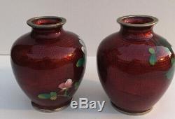 Vintage Japanese Sato Cloisonne Pigeon Blood Red Enamel White Roses Vases 2