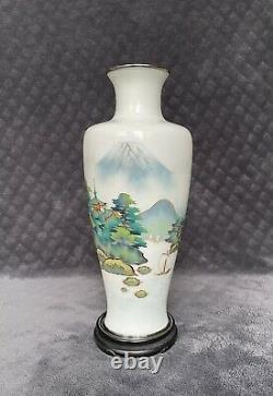 Vintage Japanese Silver Wire Musen Shippo Cloisonne Scenic Vase MARKED
