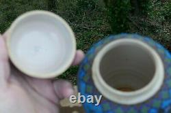 Vintage Japanese Totai Shippo Cloisonné Ginger Jar With Fan Design 6.5 Tall
