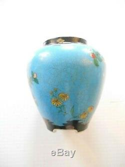 Vintage Japanese Totai Shippo Cloisonne on ceramic vase 19th century