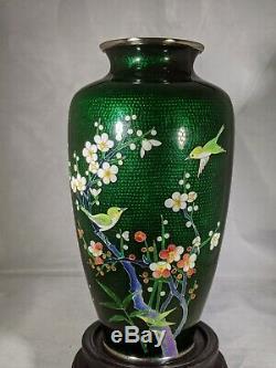 Vintage Japanese cloisonne foil Ginbari silver mounted enamel floral vase