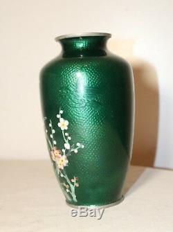 Vintage Japanese cloisonne foil Ginbari silver mounted enamel floral vase urn