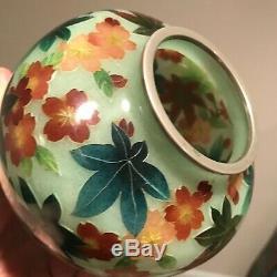 Vintage Japanese plique a jour vase cloisonné