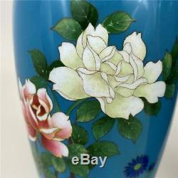 Vintage Pair Japanese Ando Asian Sevres Blue Wireless Cloisonne Floral Rose Vase