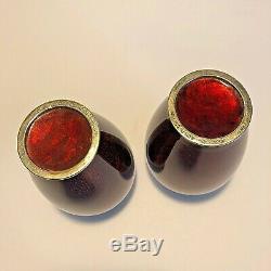 Vintage Pair Sato Japanese Red Ox Blood Cloisonné Enamel Flower Vases
