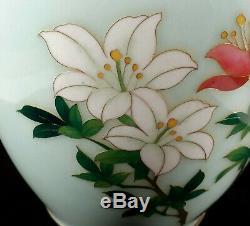 Vintage Pale Blue Sato Japanese Cloisonne Enamel Vase Pink White Flowers Japan